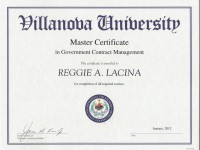 Villanova University_ Masters Certificate _ Government Contract Management_ Jan 2012